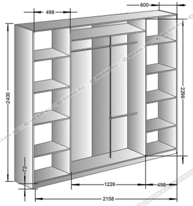 Шкаф-купе схемы размеры